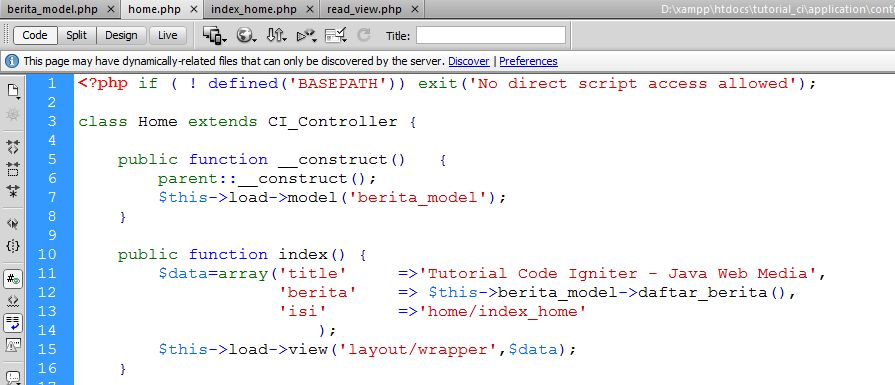 Tutorial Code Igniter Java Web Media Depok