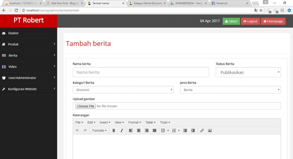 Halaman Dasbor CMS Codeigniter - Java Web Media