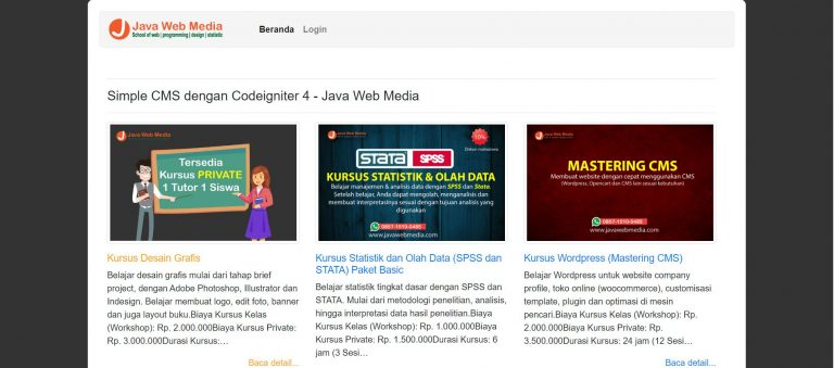 Download Website Sederhana dengan Codeigniter 4