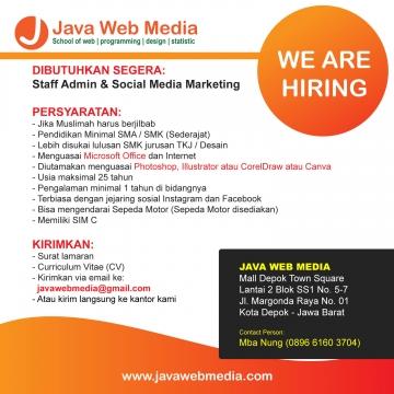 Lowongan kerja Staff Admin dan Social Media Marketing di Java Web Media