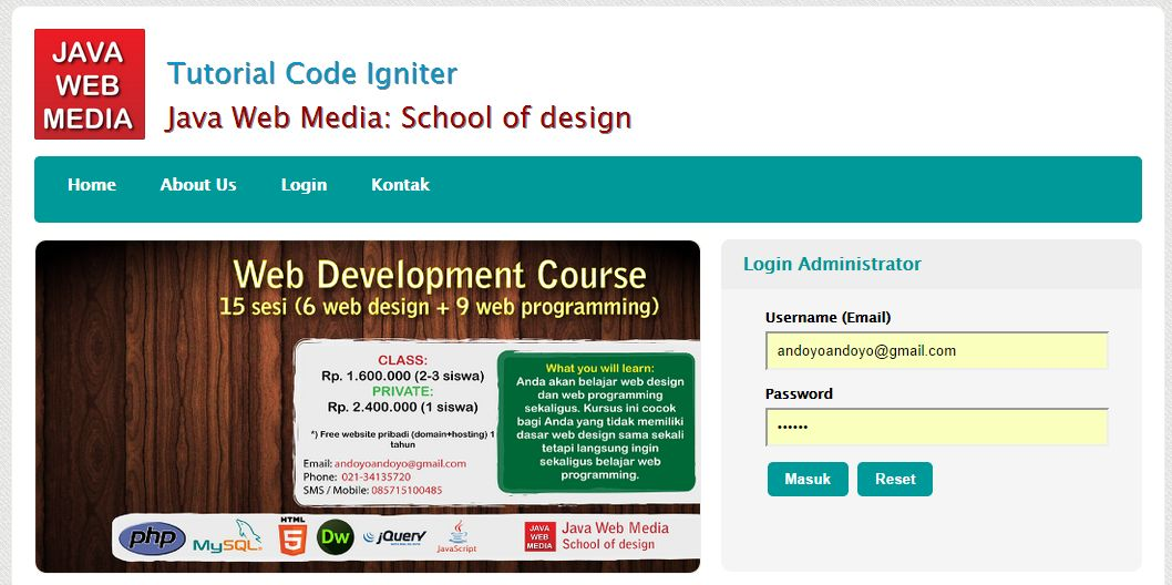 Tutorial Code Igniter - Java Web Media Depok