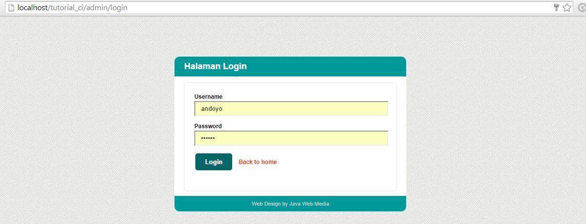 Halaman Login Kursus Web Design