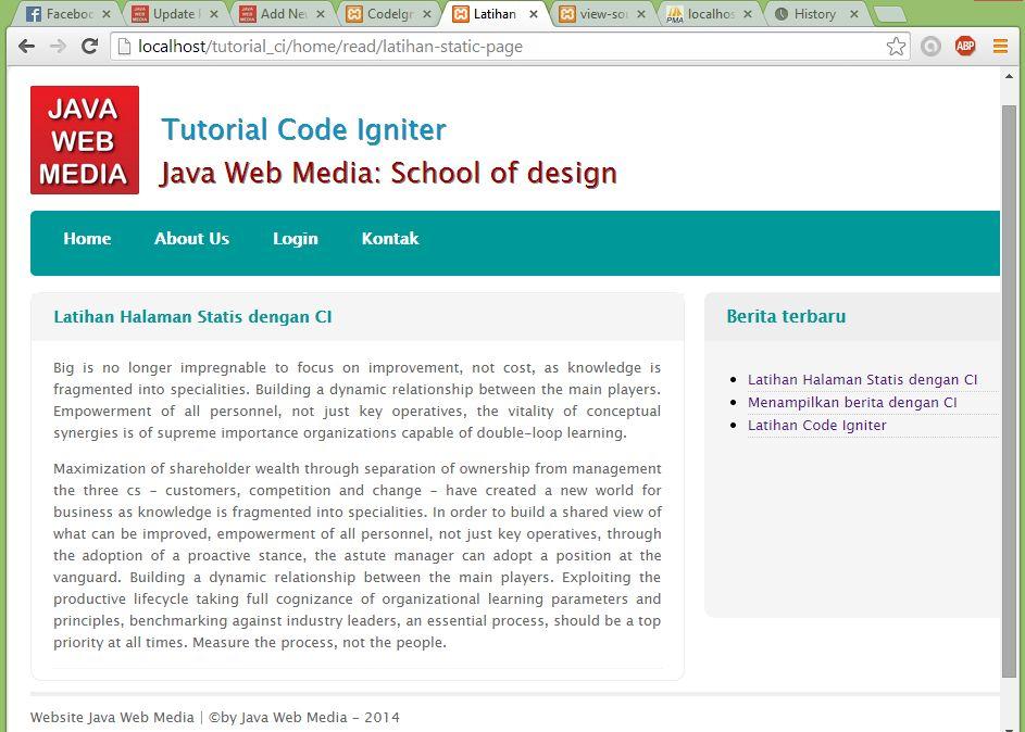 Tutorial Code Igniter Java Web Media
