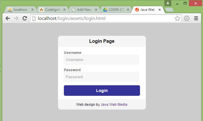 Tutorial Codeigniter - Halaman Login (Java Web Media)